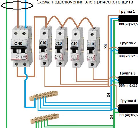 Схема как правильно подключать автоматы